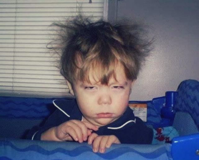 Awake at 1:06pm - hair's a mes